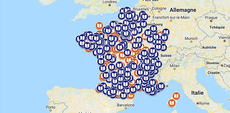 """Carte interactive des librairies proposant le retrait de livres ou """"click & collect"""" - novembre 2020"""