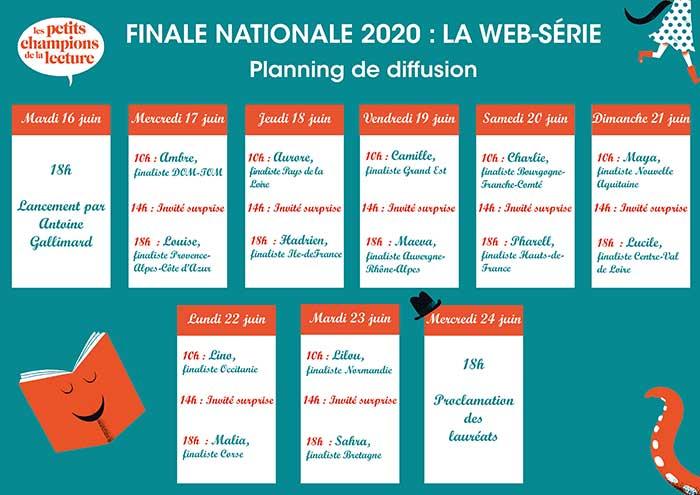 Finale nationale des Petits champions de la lecture : Planning de la web-série