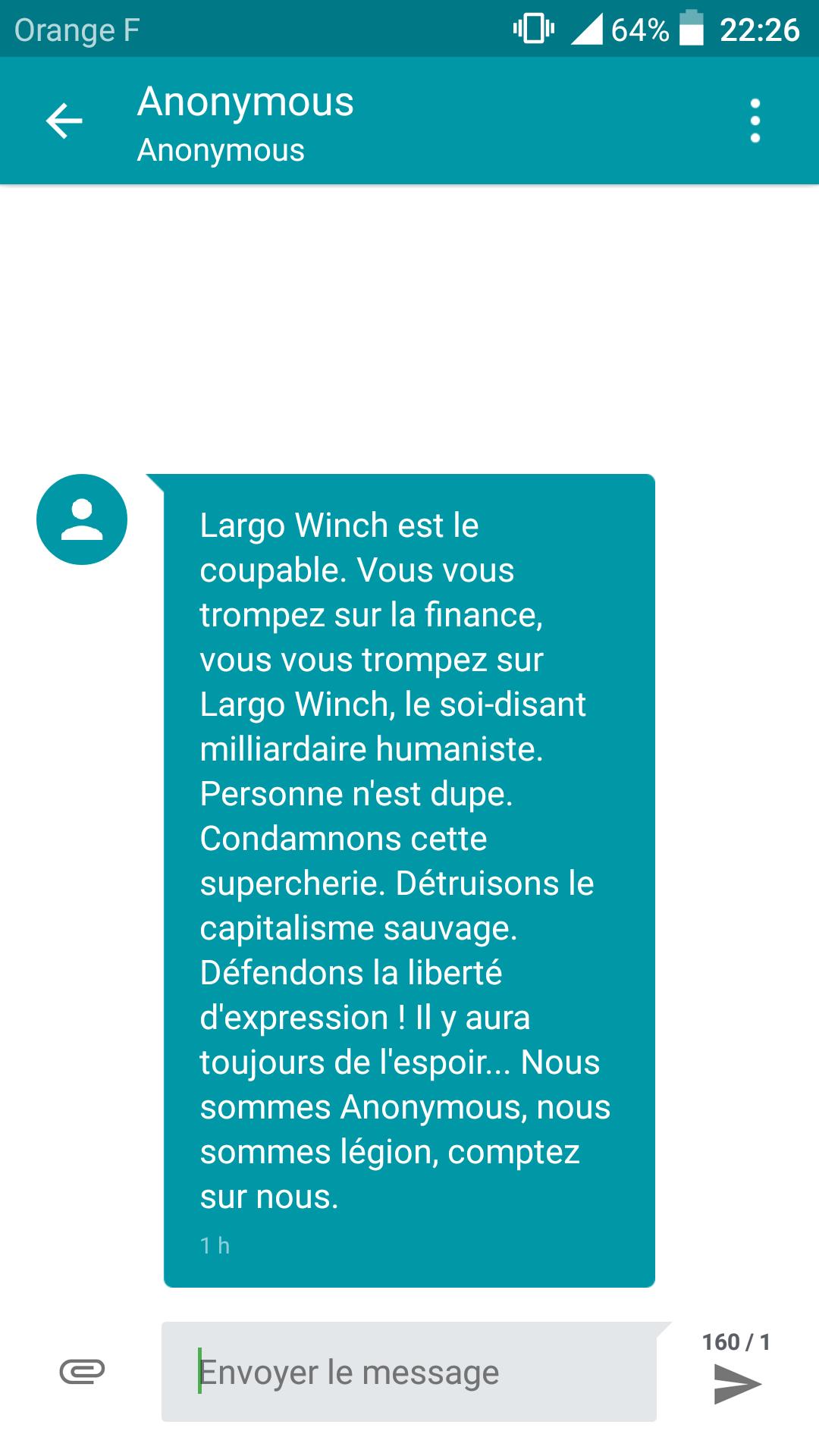 Soirée Largo Winch - SMS des Anonymous