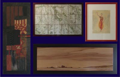 Tableau d'une artiste locale, carte de Cassini usagée, paysage en marqueterie, reproduction d'une danseuse de Rodin