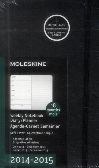 Couverture du livre « Agenda 18 mois semainier carnet 2014-2015 grand format noir couverture souple » de Moleskine aux éditions Moleskine