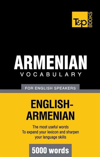 Couverture du livre « Armenian Vocabulary For English Speakers 5000 Words » de Taranov A aux éditions Books On Demand