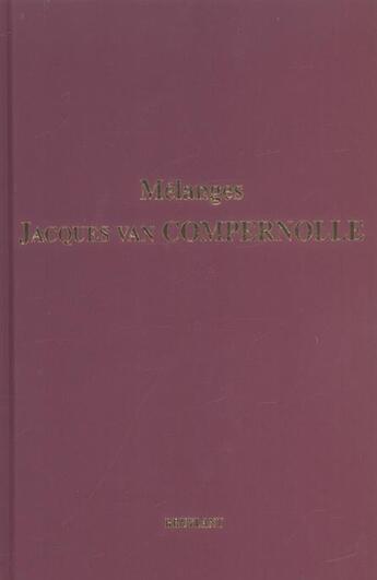 Couverture du livre « Melanges jacques van compernolle » de  aux éditions Bruylant