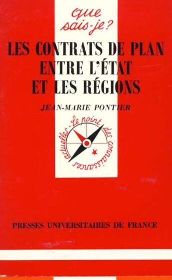 Couverture du livre « Contrats de plan entre etat & region qsj 3281 » de Pontier J.M aux éditions Que Sais-je ?