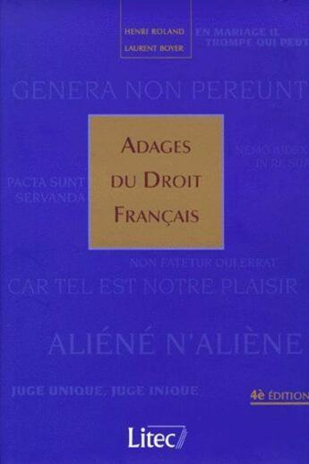 Couverture du livre « Adages du droit français » de Roland Boyer aux éditions Lexisnexis