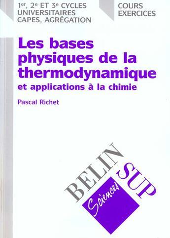 Couverture du livre « La thermodynamique deug » de Richet aux éditions Belin