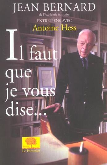 Couverture du livre « Il faut que je vous dise - entretiens avec antoine hess » de Jean Bernard aux éditions Le Pommier
