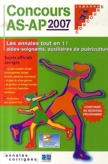 Couverture du livre « Concours as/ap 2007 » de Cefiec aux éditions Lamarre