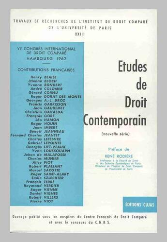 Couverture du livre « Actes du 6e congrès international de droit comparé ; hambourg; 1962 » de Rene Rodiere aux éditions Cujas