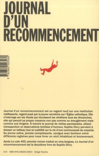 Couverture du livre « Le journal d'un recommencement » de Sophie Divry aux éditions Noir Sur Blanc