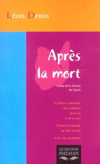 Couverture du livre « Apres La Mort » de Leon Denis aux éditions Transatlantiques