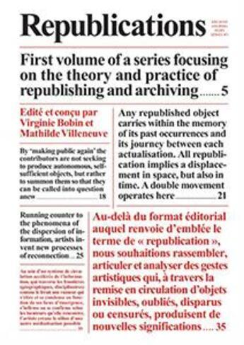 Couverture du livre « Archive Journal Hors-Series T.1 ; Republications » de Collectif aux éditions Archive Books