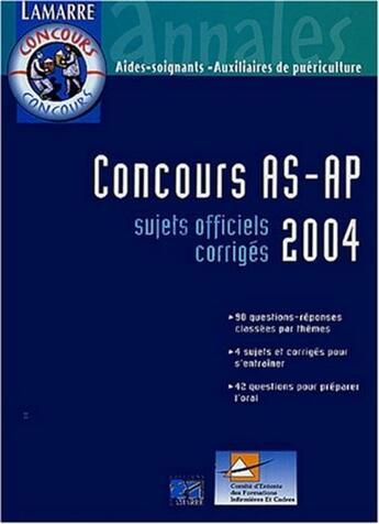 Couverture du livre « Concours as/ap 2004 » de Editions Lamarre aux éditions Lamarre