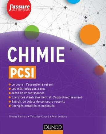 Couverture du livre « Chimie Pcsi » de Barilero+Emond+Le Ro aux éditions Dunod
