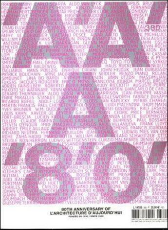 Couverture du livre « A'A' a 80 ans » de L'Architecture Aujourd'Hui aux éditions Archipress