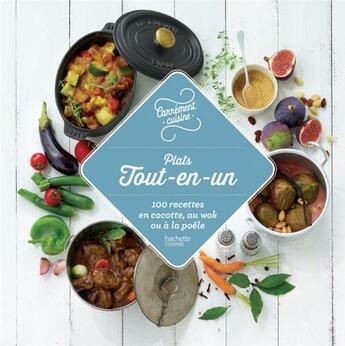 Couverture du livre « Plats tout-en-un ; 100 recettes en cocottes, au wok ou à la poêle » de Collectif aux éditions Hachette Pratique