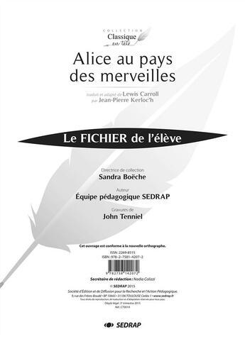 Couverture du livre « Alice Au Pays Des Merveilles - Fichier » de Collectif aux éditions Sedrap
