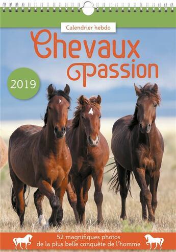 Couverture du livre « Calendrier hebdo chevaux passion 2019 » de  aux éditions Editions 365