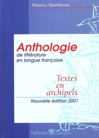 Couverture du livre « Anthologie » de Hambursin aux éditions De Boeck
