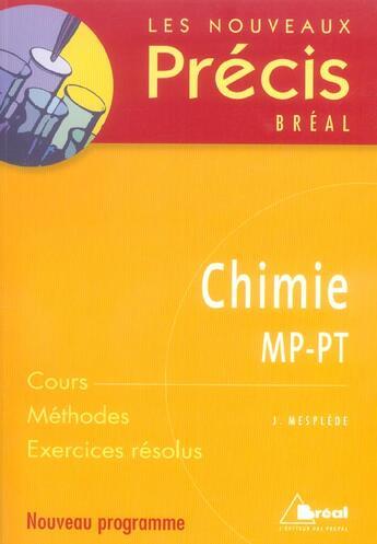 Couverture du livre « Chimie ; MP-PT » de Jacques Mesplede aux éditions Breal
