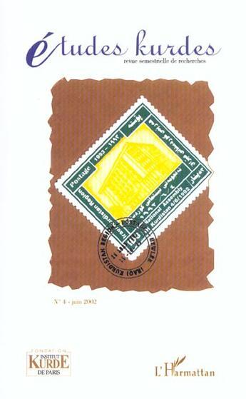 Couverture du livre « Etudes Kurdes T.4 » de Revue Etudes Kurdes aux éditions L'harmattan