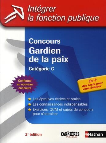 Couverture du livre « Concours gardien de la paix ; catégorie C » de Grasser/Joly aux éditions Nathan