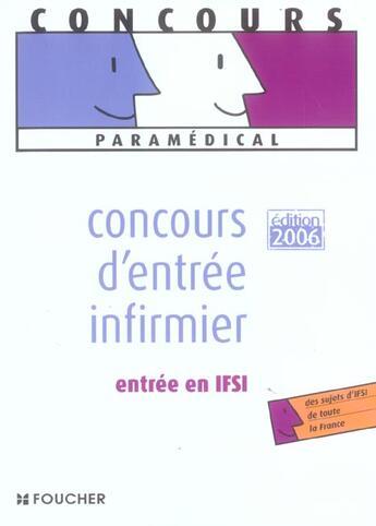 Couverture du livre « Concours D'Entree Infirmier » de Regine Gioria aux éditions Foucher