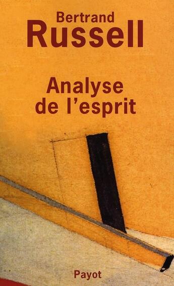 Couverture du livre « Analyse de l'esprit » de Bertrand Russell aux éditions Payot