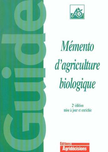 Couverture du livre « Memento D'Agriculture Biologique » de Gabriel Guet aux éditions France Agricole