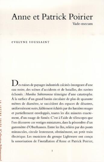 Couverture du livre « Anne et Patrick Poirier » de Evelyne Toussaint aux éditions Lettre Volee