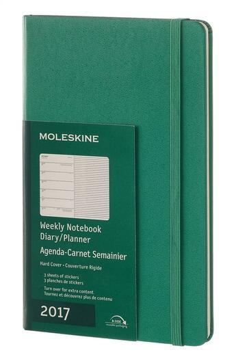 Couverture du livre « Agenda 2017 semainier carnet gran format rigide vert malachite » de Collectif aux éditions Moleskine
