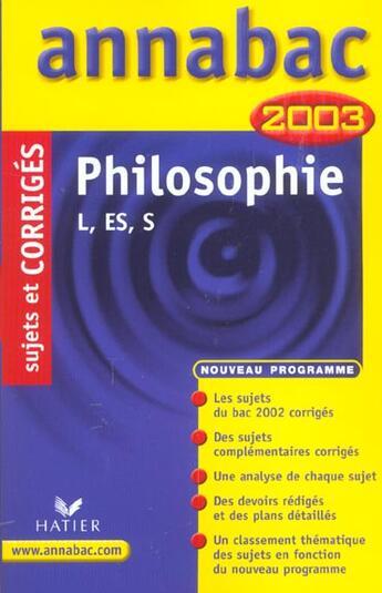 Couverture du livre « Annabac ; Philosophie ; Terminale L Es S ; Sujets Et Corriges » de Collectif aux éditions Hatier
