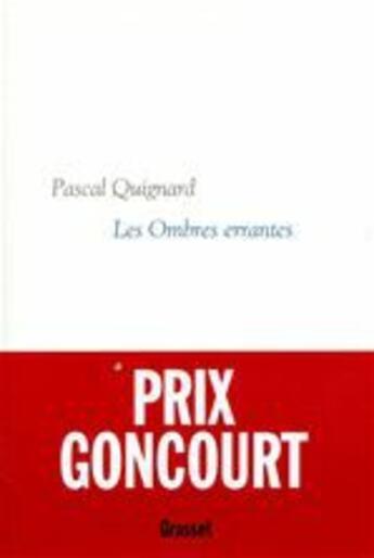 Couverture du livre « Dernier royaume t.1 ; les ombres errantes » de Pascal Quignard aux éditions Grasset