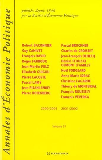 Couverture du livre « Annales D'Economie Politique ; 2000-2001, 2001-2002 » de Collectif aux éditions Economica