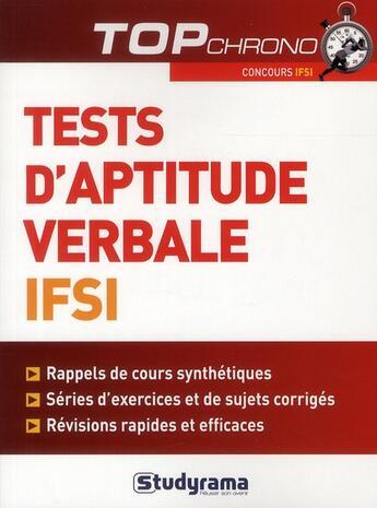 Couverture du livre « Aptitude verbale ; IFSI » de Celine Wistuba aux éditions Studyrama