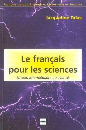 Couverture du livre « Francais pour les sciences » de Tolas J aux éditions Pu De Grenoble