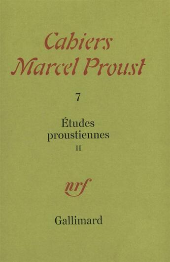 Couverture du livre « Etudes Proustiennes T2 » de Collectifs Gallimard aux éditions Gallimard
