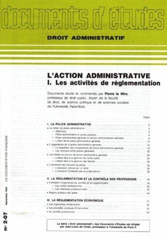 Couverture du livre « Action Administrtive 1 » de De 207 aux éditions Documentation Francaise