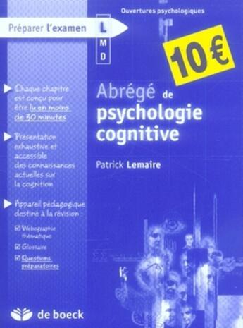 Couverture du livre « Abrégé de psychologie cognitive » de Patrick Lemaire aux éditions De Boeck Superieur