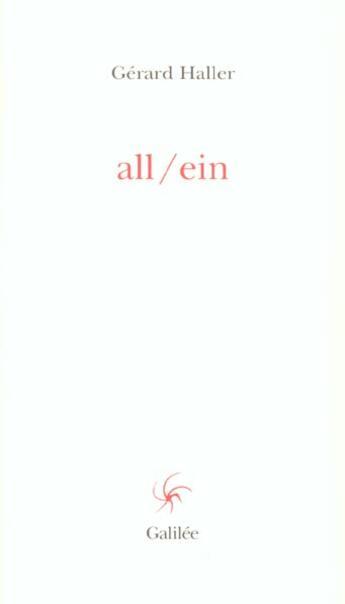 Couverture du livre « All / Ein » de Haller G aux éditions Galilee