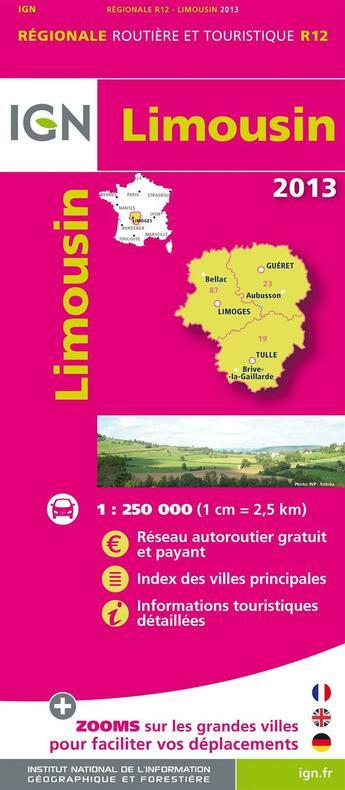 Couverture du livre « **R12 Limousin 2012 » de Collectif Ign aux éditions Ign