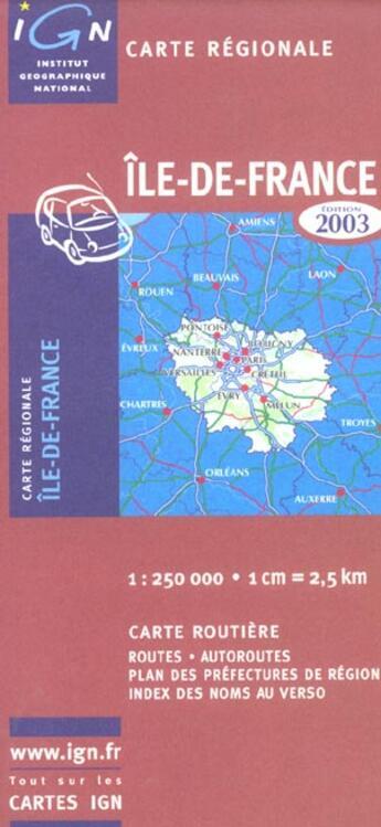 Couverture du livre « *Ile De France 2004 » de Collectif Ign aux éditions Ign