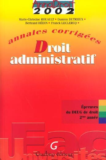 Couverture du livre « Anna Droit 2002 Droit Administratif » de Rouault aux éditions Gualino
