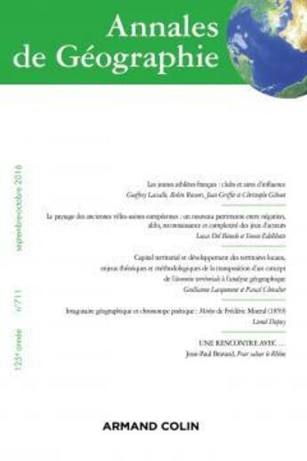 Couverture du livre « Revue Annales De Geographie N.711 ; 5/2016 ; Varia » de Revue Annales De Geographie aux éditions Armand Colin