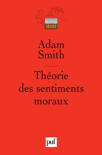 Couverture du livre « Theorie des sentiments moraux » de Smith A aux éditions Puf