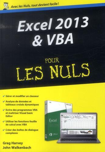 Couverture du livre « Excel 2013 et VBA pour les nuls » de Greg Harvey aux éditions First Interactive