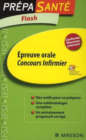 Couverture du livre « Concours infirmier ; épreuve orale (3e édition) » de Ghyslaine Benoist aux éditions Elsevier-masson