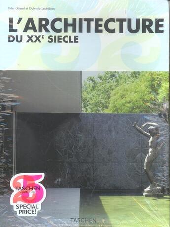 Couverture du livre « L'architecture du XX siècle » de Peter Gossel aux éditions Taschen
