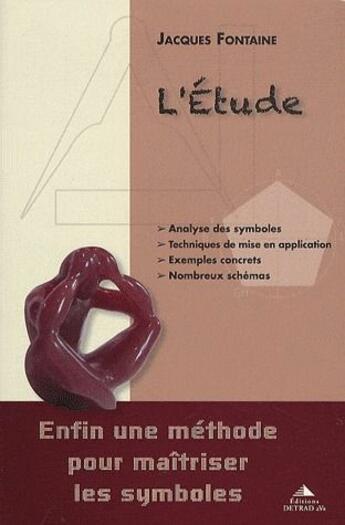 Couverture du livre « L'étude » de Jacques Fontaine aux éditions Detrad Avs