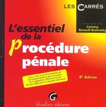 Couverture du livre « Essentiel de la procedure penale, 4eme edition (4e édition) » de Renault-Brahinsky Co aux éditions Gualino